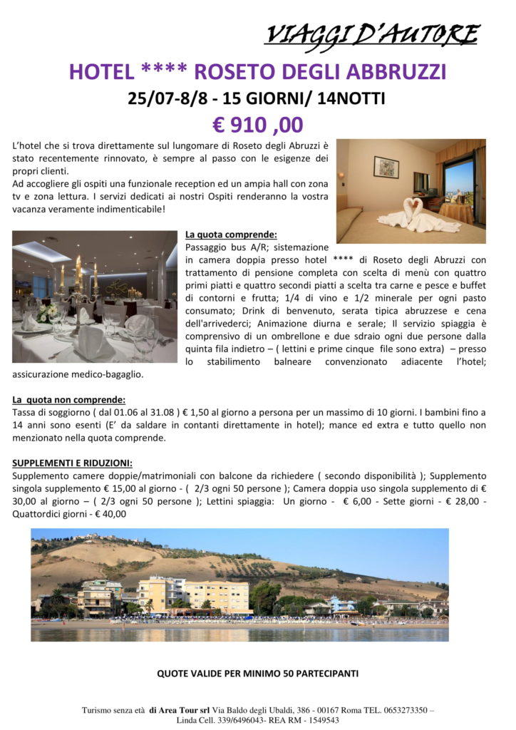 Soggiorno Mare a Roseto degli Abruzzi dal 25/07 al 08/08