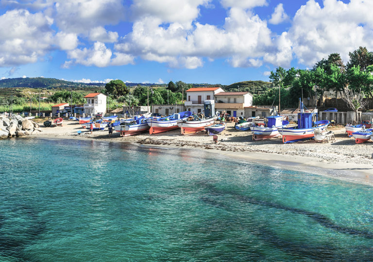Traditional fishing village Briatico in Calabria with turquoise