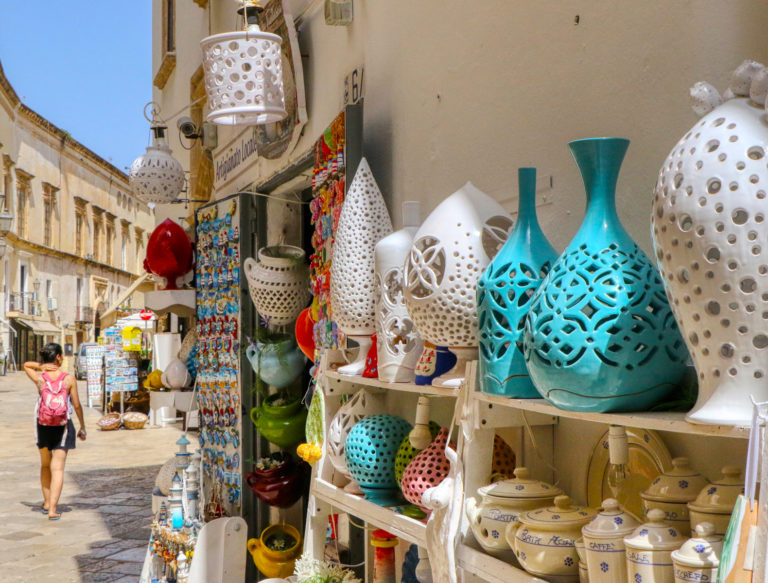 Souvenir shop in the old town of Gallipoli, Puglia, Italy